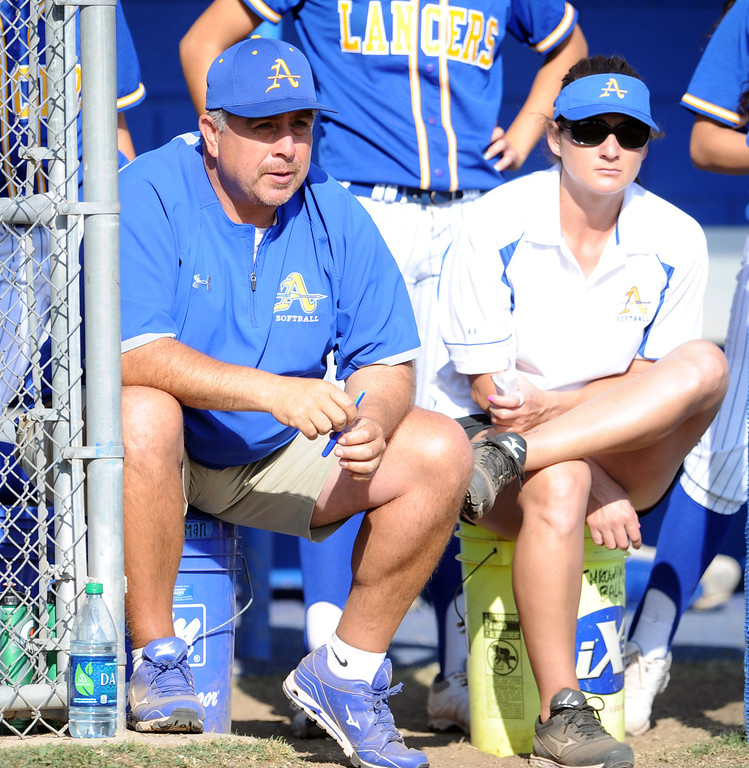 Description of . Bishop Amat's Jesse Mendez in the sixth inning of a prep softball game against Santiago at Bishop Amat High School on Wednesday, March 27, 2013 in La Puente, Calif. Bishop Amat won 5-3.  (Keith Birmingham Pasadena Star-News)