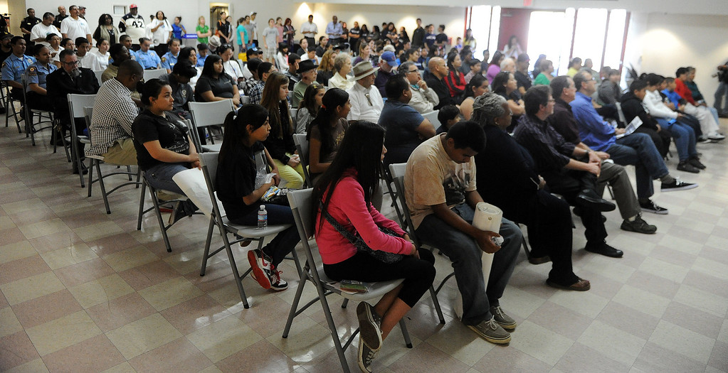 . Dozens listen to speakers during the El Centro de Accion Social Annual Cesar Chavez Commemoration and Peace Walk at the Villa-Parke Community Center on Saturday, March 30, 2013 in Pasadena, Calif.  (Keith Birmingham Pasadena Star-News)