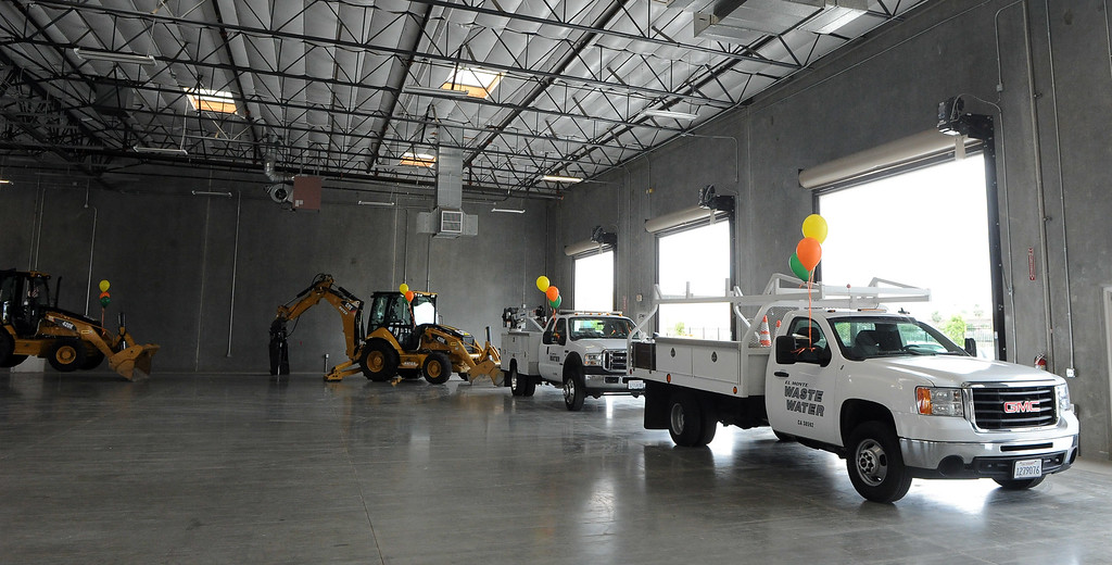 . Equipment is displayed in the maintenance bay during the grand opening of the state-of-the-art Public Works and Transportation Yard at the El Monte Public Works & Transportation Yard on Thursday, April 25, 2012 in El Monte, Calif.    (Keith Birmingham/Pasadena Star-News)