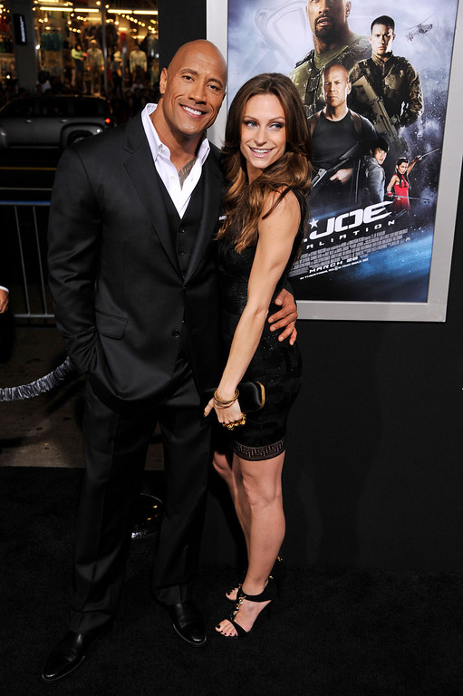 ". Dwayne Johnson, a cast member in ""G.I. Joe: Retaliation,\"" poses with his girlfriend Lauren Hashian at the Los Angeles premiere of the film at the TCL Chinese Theatre on Thursday, March 28, 2013 in Los Angeles. (Photo by Chris Pizzello/Invision/AP)"