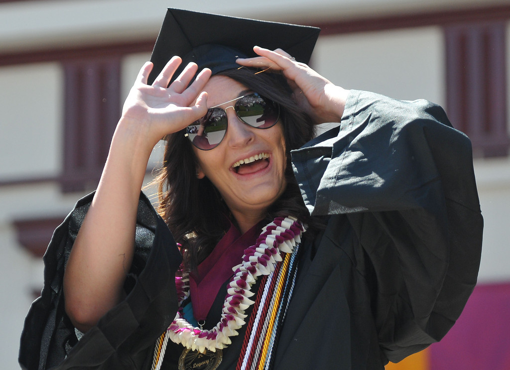 ". (John Valenzuela/Staff Photographer)  The 104th College of Arts & Sciences Commencement for the University of Redlands, Saturday, April 20, 2013. University of Redlands alumni, Marilyn Magness Carroll, class of 1975, delivered the Commencement speech, "" If You Can Dream It, You can Do It\""."