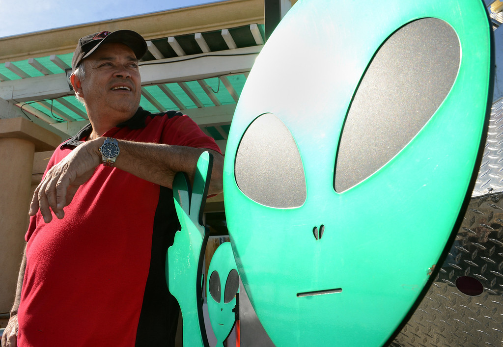 Description of . Businessman Luis Ramallo at Alien Fresh Jerky in Baker, CA, Thursday, April 3, 2014. Ramallo is planning to build a UFO shaped hotel behind the popular Alien Fresh Jerky store. (Photo by Jennifer Cappuccio Maher/Inland Valley Daily Bulletin)