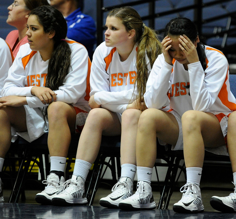 . The St. Joseph Bench looks dejected in the first half. Chaminade played St. Joseph in the Girls Div. 3A Finals at the Anaheim Convention Center in Anaheim, CA 2/23/2013(John McCoy/Staff Photographer)