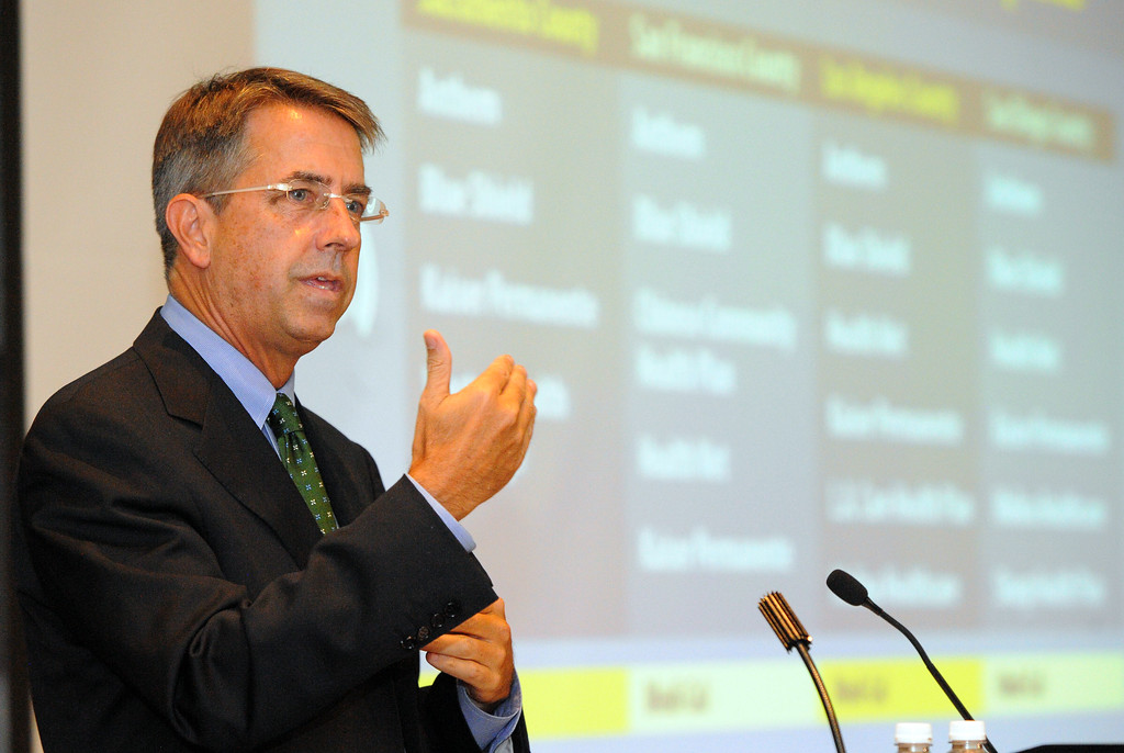 . Peter Lee, director of Covered California discusses the states efforts to implement the Affordable Care Act during a town hall meeting at CSULB  in Long Beach, CA on Friday, September 6, 2013.  (Photo by Scott Varley, Press-Telegram)