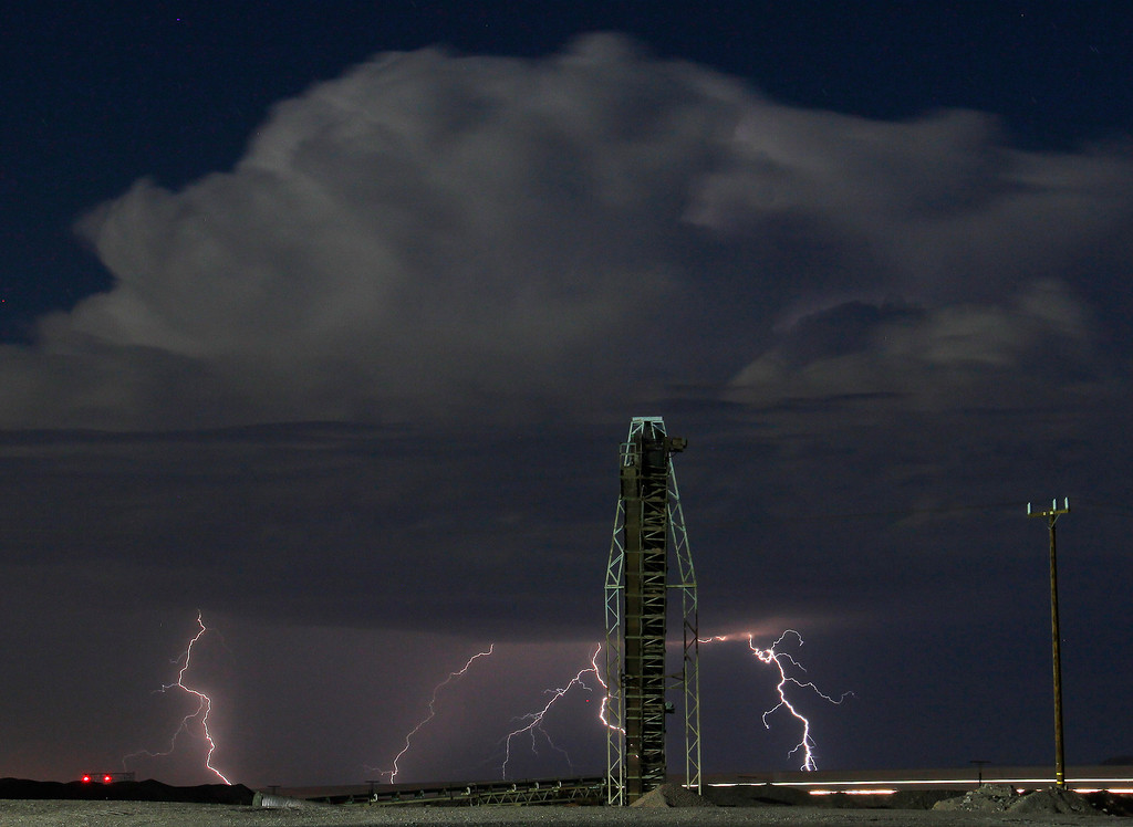 . as monsoon storms pass throughout the high deserts area early Monday morning, Aug. 19, 2013 - Barstow CA. Photo by Gene Blevins/LA Daily News