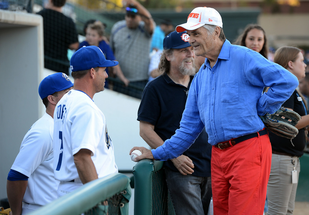 Description of . Actor Fred Willard talks with players before throwing out the first pitch at the Quakes game at LoanMart Field in Rancho Cucamonga, CA, Friday, August 15, 2014. (Photo by Jennifer Cappuccio Maher/Inland Valley Daily Bulletin)