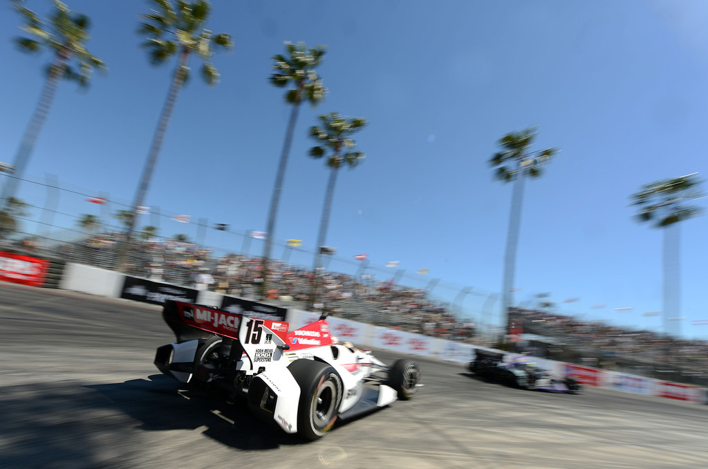 . (Will Lester/Staff Photographer)  Indycar driver Graham Rahal drives through the hairpin during the Friday afternoon practice session April 19, 2013 at the 39th annual Toyota Grand Prix of Long Beach.