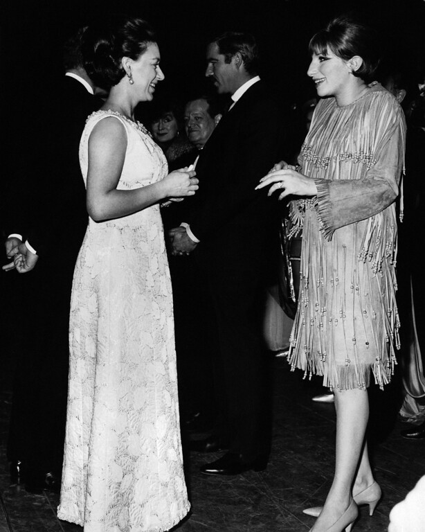 ". Princess Margaret chats backstage with singer Barbra Streisand at the Prince of Wales Theater in London on April 12, 1966, after attending a preview of the musical ""Funny Girl\"" with her husband Lord Snowdon. Show opens in London on April 13. Miss Streisand stars in the musical. (AP Photo/UPI)"