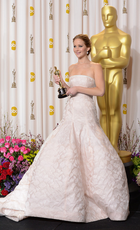 """. Jennifer Lawrence won the award for best actress in a leading role for \""""Silver Linings Playbook\"""" backstage at the 85th Academy Awards at the Dolby Theatre in Los Angeles, California on Sunday Feb. 24, 2013 ( David Crane, staff photographer)"""