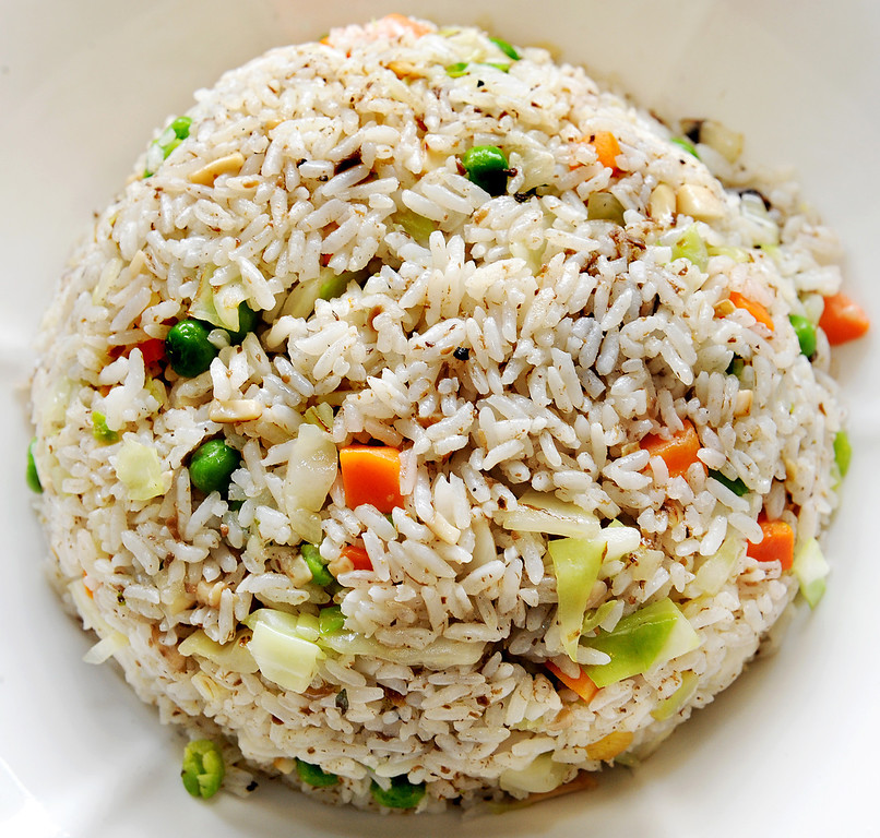 Description of . Truffle Fried Rice, with an earthy flavor, a speciality of Bodhi Veggie Cuisine located at 3643 Rosemead Boulevard in city of Rosemead offering excellent vegetarian dishes Tuesday, March  11, 2014.(Photo by Walt Mancini/Pasadena Star-News)