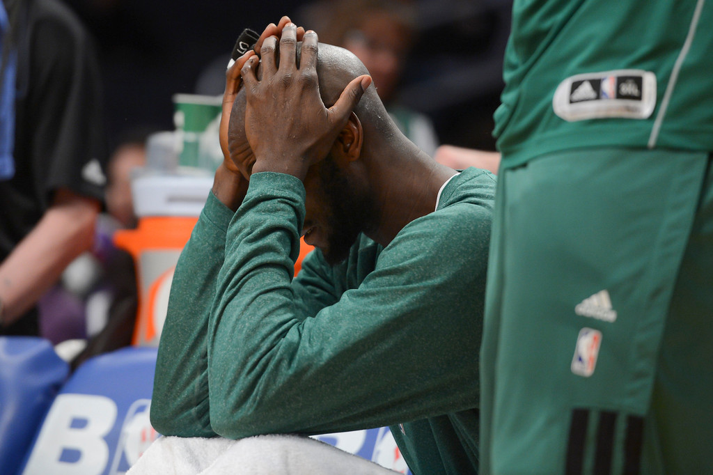 . Celtics\' Kevin Garnett reacts to the loss to the Lakers during second half action at Staples Wednesday. Lakers defeated the Celtics 113-99.  Photo by David Crane/Staff Photographer