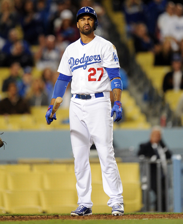 . Los Angeles Dodgers\' Matt Kemp reacts after striking out swinging with the bases loaded in the seventh inning of their baseball game against the San Diego Padres on Wednesday, April 17, 2013 in Los Angeles.   (Keith Birmingham/Pasadena Star-News)