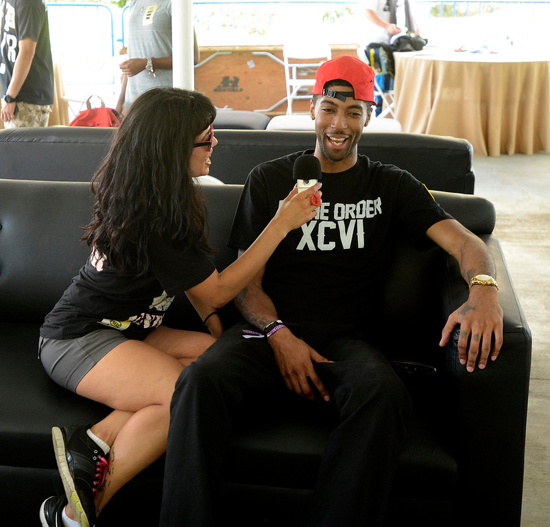 Description of . Rapper Stevie Crooks is interviewed backstage during the Paid Dues Independent Hip Hop Festival at San Manuel Amphitheater in Devore March 30, 2013.  GABRIEL LUIS ACOSTA/STAFF PHOTOGRAPHER.