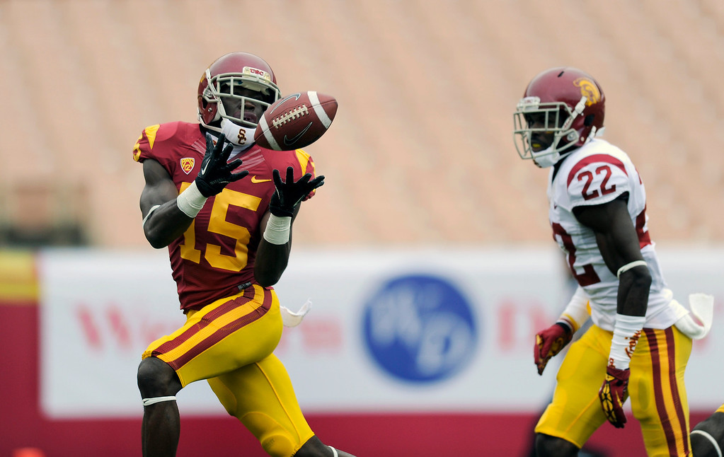 . WR Nelson Agholor beats CB Leon McQuay for a 44-yard touchdown pass from Max Browne during USC\'s Spring Football Game at the L.A. Memorial Coliseum, Saturday, April 13, 2013. (Michael Owen Baker/Staff Photographer)
