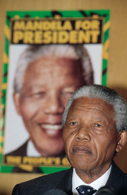 . African National Congress (ANC) leader Nelson Mandela at a press conference on Thursday, March 31, 1994 in Johannesburg in which he commented on South African President F.W de Klerk\'s declaration of the state of emergency in KwaZulu and Natal province. (AP Photo/Peter Dejong)
