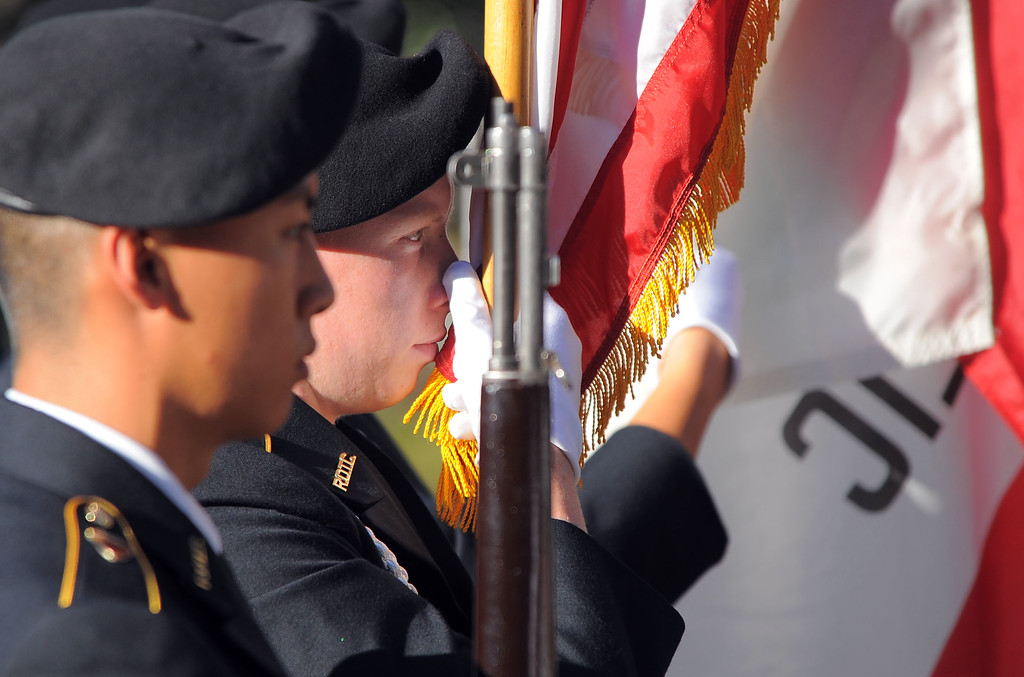 . CSULB celebrates Veterans Day with a short ceremony on the upper campus in Long Beach, CA on Thursday, November 7, 2013.  The CSULB color guard posts the color during the pledge of allegiance. (Photo by Scott Varley, Daily Breeze)