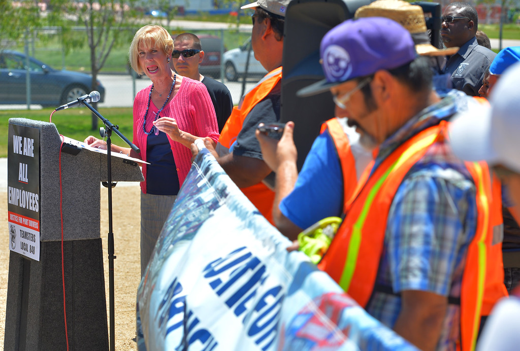 . At a press conference, Congresswoman Janice Hahn (D-CA) comes to the support of striking truck drivers in Wilmington, CA on Monday, July 7, 2014. United Farm Workers joined Teamsters as they picketed several trucking companies and shipping terminals at the ports of Long Beach and Los Angeles. (Photo by Scott Varley, Daily Breeze)