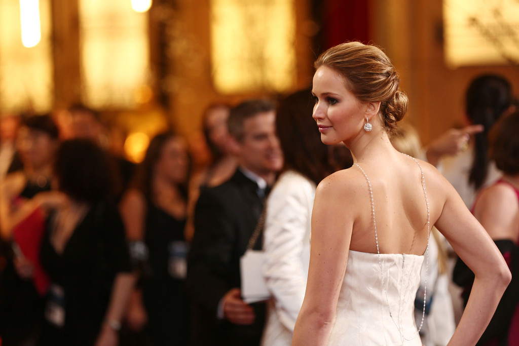 . Actress Jennifer Lawrence arrives at the Oscars at the Dolby Theatre on Sunday Feb. 24, 2013, in Los Angeles. (Photo by Matt Sayles/Invision/AP)