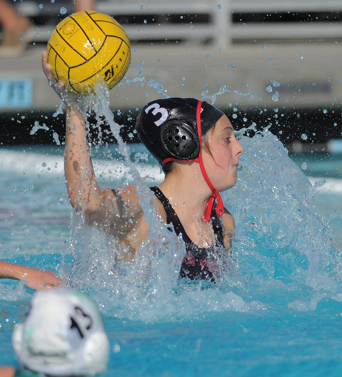 . 02-16-2012--(LANG Staff Photo by Sean Hiller)- Palos Verdes girls water polo defeated Upland 10-8 in Saturday\'s CIF Southern Section Division III quarterfinal at Palos Verdes High School. PV\'s Kate Roan scores a first half goal.