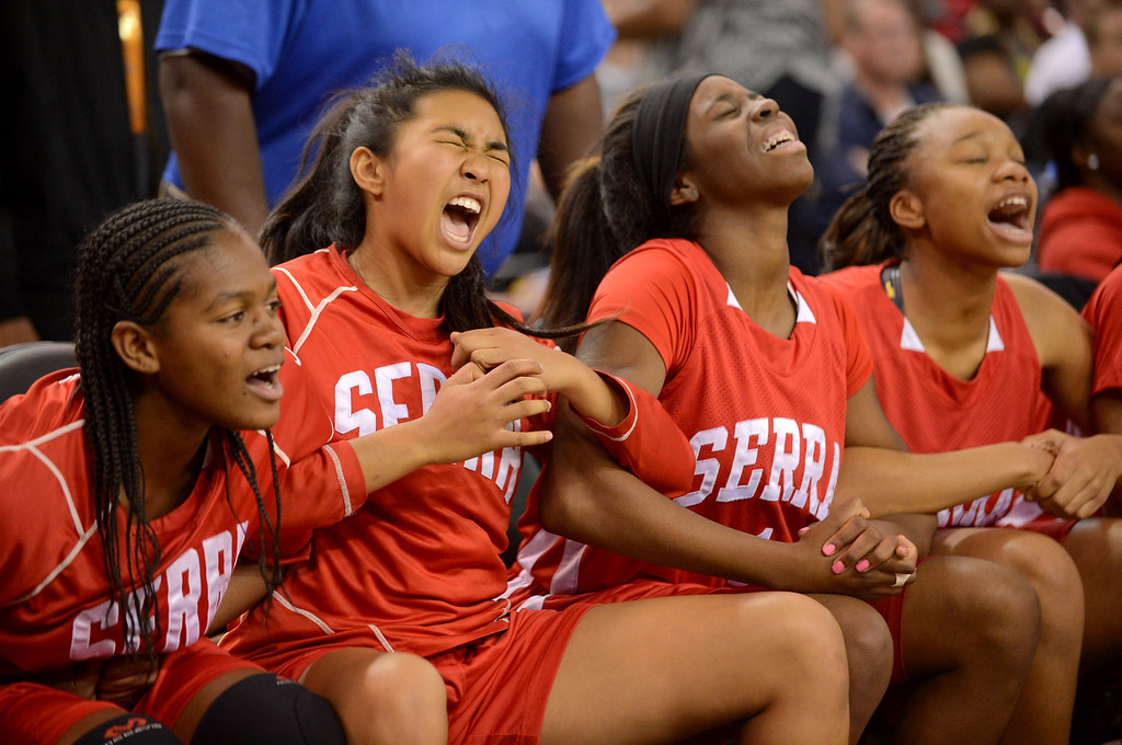 . Serra High School players react in the final seconds against Salesian High during the Division IV 2013 CIF State Basketball Championships at Sleep Train Arena, in Sacramento, Ca March 23, 2013.  Serra won the game 62-60.(Andy Holzman/Los Angeles Daily News)