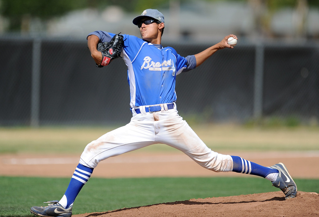 Description of . Baldwin Park starting pitcher Bernardo Flores (C) throws to the plate in the first inning of a prep baseball game against Northview at Northview High School on Tuesday, April 23, 2012 in Covina, Calif. Northview won 8-2.    (Keith Birmingham/Pasadena Star-News)