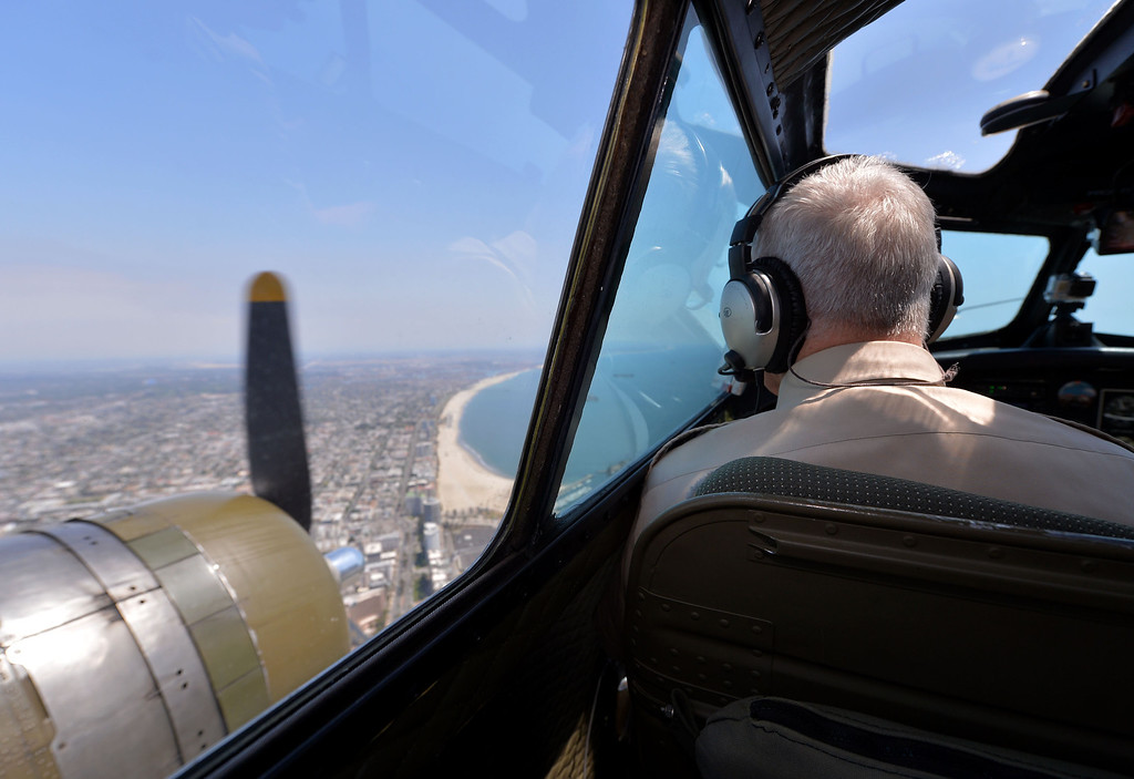 . 0426_NWS_TDB-L-FLIGHT--- Torrance, CALIFORNIA--4/25/13--- Staff Photo: Robert Casillas / LANG--- The B-17 Bomber Aluminum Overcast visits Torrance Airport for flights and public viewing this weekend. View from cockpit over Long Beach.