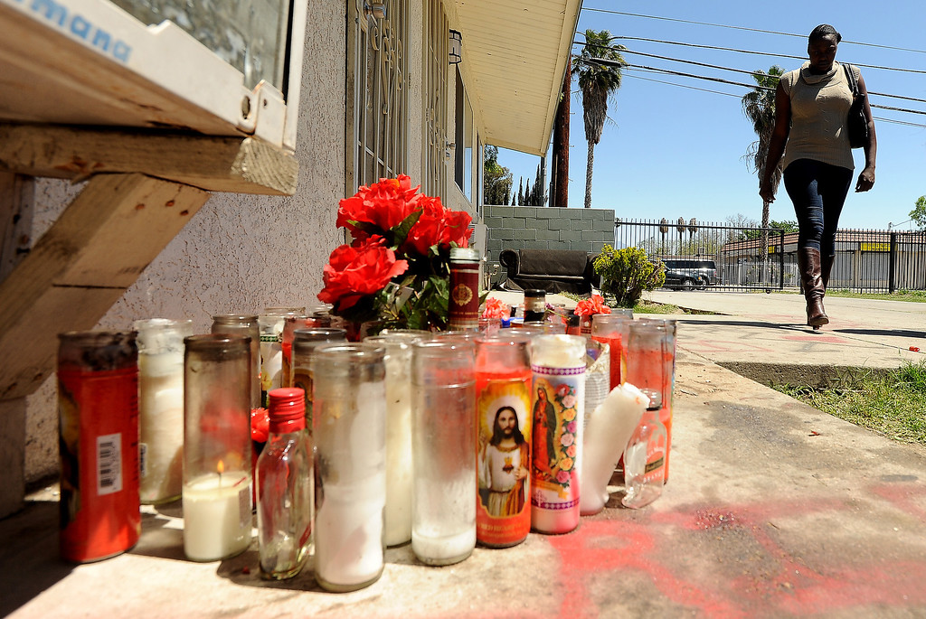 . A view of a memorial site along North Sierra Way in San Bernardino April 18, 2013.   Adante Whittiker and Belton were both shot and killed at the spot April 11 and 12th respectively. GABRIEL LUIS ACOSTA/STAFF PHOTOGRAPHER.