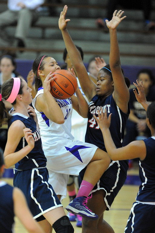 . LONG BEACH - 02/14/13 - (Photo: Scott Varley, Los Angeles Newspaper Group)  CIF-SS Div 4AA girls basketball playoff between Marymount Sailors and host St. Anthony Lady Saints. SA\'s Monique Thompson is fouled as she drives for a lay-up.