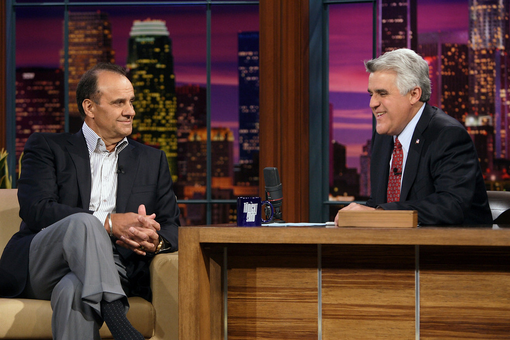 ". In this photo provided by NBC, Los Angeles Dodgers manager Joe Torre, left, talks to host Jay Leno during his appearance on ""The Tonight Show with Jay Leno\"" on Wednesday, March 26, 2008 in Los Angeles. (AP Photo/NBC, Margaret Norton) **NO SALES, NO ARCHIVE**"