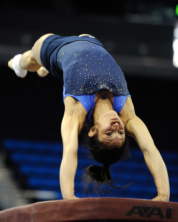 . UCLA Vanessa Zamarripa practices on the vault, Thursday, April 18, 2013, for the upcoming NCAA Women\'s Gymnastics Championships at Pauley Pavilion. (Michael Owen Baker/Staff Photographer)
