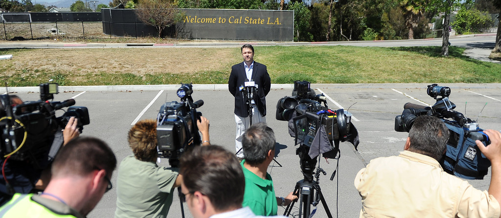 Description of . Paul Browning, Direcotor of Media Relations speaks about a bomb threat that closed the campus of Cal State Los Angeles on Thursday, April 18, 2012 in Los Angeles, Calif.    (Keith Birmingham/Pasadena Star-News)