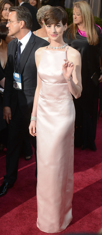 . Anne Hathaway arrives at the 85th Academy Awards at the Dolby Theatre in Los Angeles, California on Sunday Feb. 24, 2013 ( Hans Gutknecht, staff photographer)