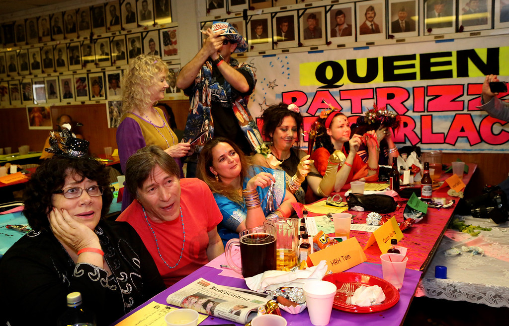 . Judges react to one of the many acts at tryouts for the Doo Dah Queen which was attended by hopeful contestants, judges, and fans of the parade.  The event was held at the American Legion Bar in Pasadena on Sunday, April 7, 2013. (Photo by Nancy Newman / Pasadena Star-News Correspondent )
