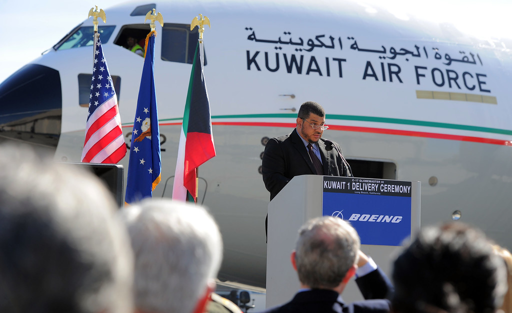 . In a morning ceremony, Boeing officials delivered Kuwait\'s first C-17 Globemaster aircraft in Long Beach, CA on Thursday, February 13, 2014. Kuwait Air Force Col. Abdullah Al Foudari delivers his remarks at the ceremony. This is the first of two C-17 airlifters that will be delivered to the Kuwait Air Force.  (Photo by Scott Varley, Daily Breeze)