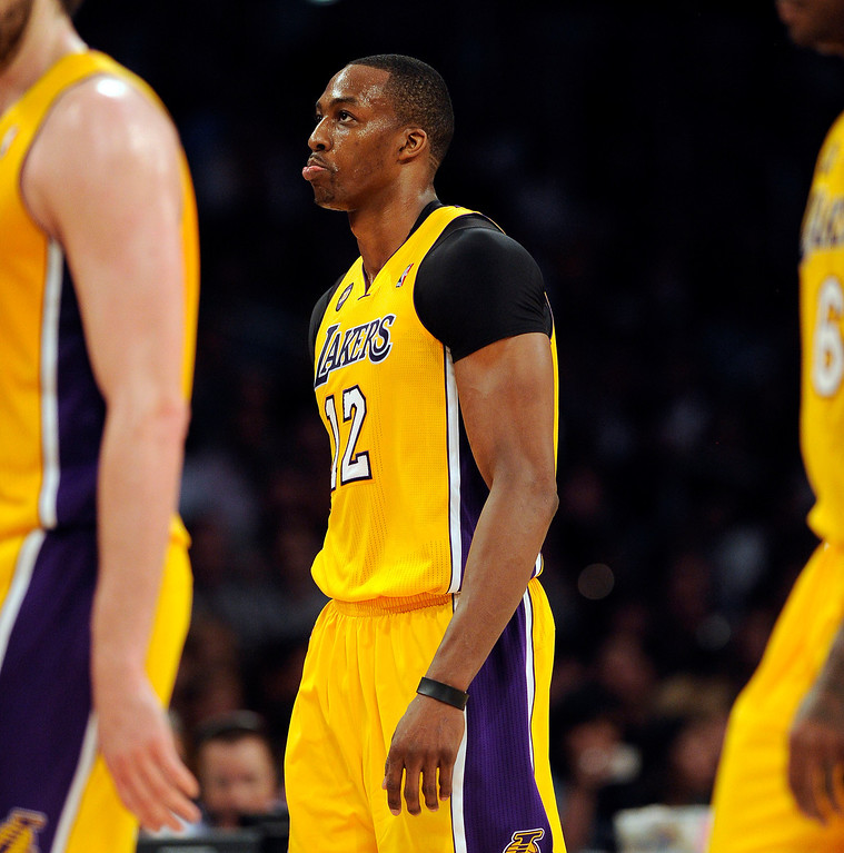 . The Lakers\' Dwight Howard #12 during their game against the Warriors at the Staples Center in Los Angeles Friday, April 12, 2013. (Hans Gutknecht/Staff Photographer)