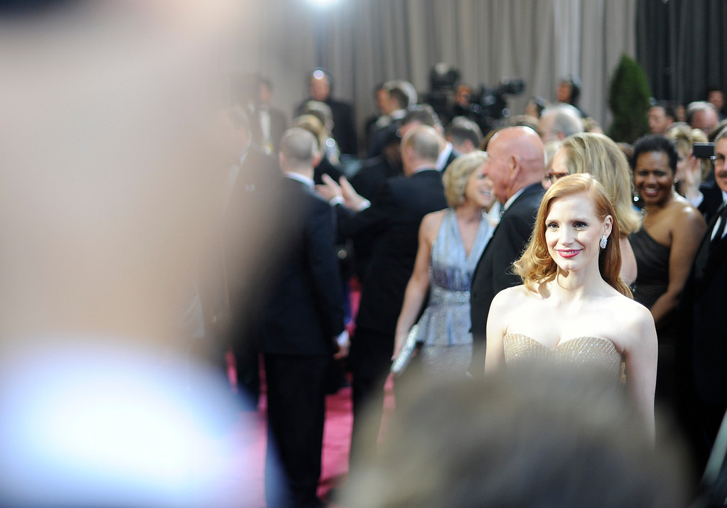 . Jessica Chastain arrives at the 85th Academy Awards at the Dolby Theatre in Los Angeles, California on Sunday Feb. 24, 2013 ( Hans Gutknecht, staff photographer)
