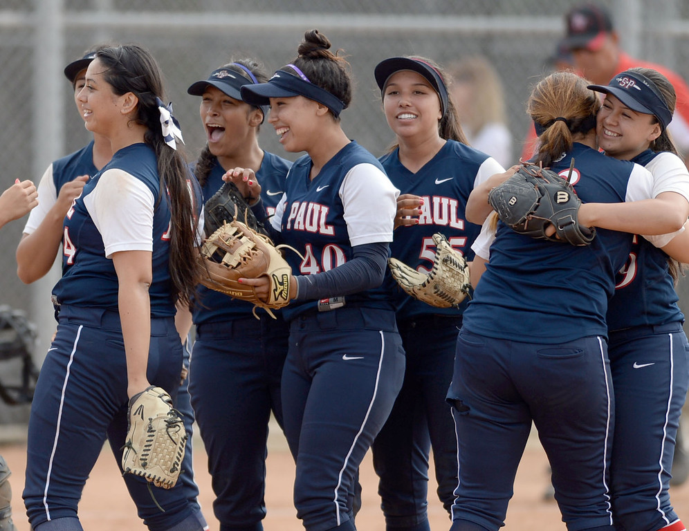 . St. Paul celebrates their win in a CIF-SS Division III semifinal softball game Tuesday, May 27, 2014, Palos Verdes Estates, CA.   Palos Verdes lost 10-0. Photo by Steve McCrank/Daily Breeze