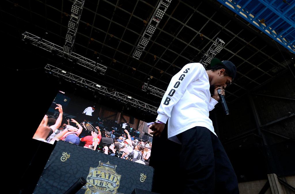 Description of . Skeme performs during the Paid Dues Independent Hip Hop Festival at San Manuel Amphitheater in Devore March 30, 2013.  GABRIEL LUIS ACOSTA/STAFF PHOTOGRAPHER.