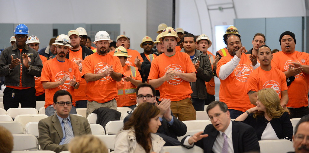 . Those favoring SCIG cheer for the project. LA Harbor Commission meeting to determine the fate of the SCIG rail terminal, or Southern California International Gateway.    Photo by Brad Graverson 3-7-13