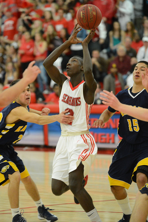 . Redondo Union\'s Leland Green (2) shoots against  Arroyo Grande in a CIF Southern Section Division II-A semifinal boys basketball game Tuesday night in Redondo Beach. 20130226 Photo by Steve McCrank / Staff Photographer
