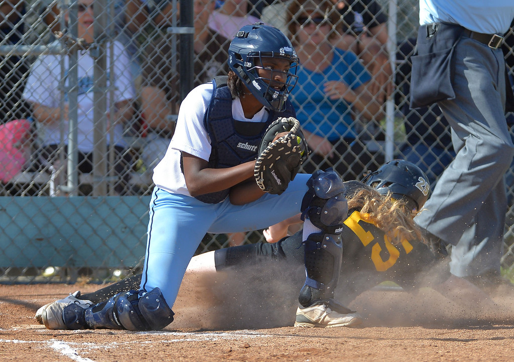 . 0522_SPT_TDB-L-SP-CARSON --Carson, California Daily Breeze Staff Photo: Robert Casillas / LANG Carson HS defeated Marine League rival San Pedro 6-0 in Los Angeles City softball semi-final. Carson catcher Hillary Edior records force out at home on San Pedro\'s Taylor Richter.