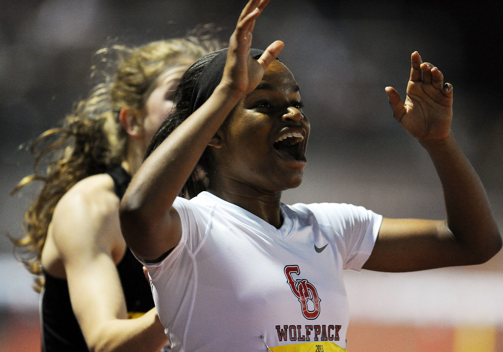Description of . Great Oak's Jade Miller reacts after winning the 300 meter hurdles invitational during the Arcadia Invitational at Arcadia High School on Saturday, April 6, 2013 in Arcadia, Calif.  (Keith Birmingham Pasadena Star-News)