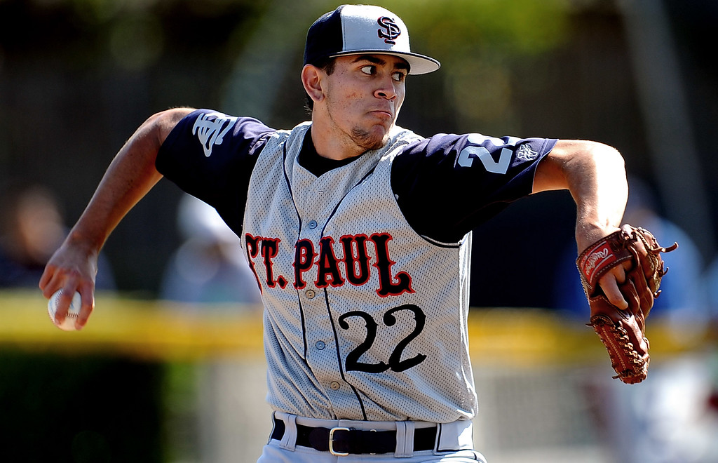 . St. Paul starting pitcher Jared Paderez throws to the plate in the first inning of a prep baseball game against Bishop Amat at Bishop Amat High School on Friday, April 19, 2012 in La Puente, Calif. Bishop Amat won 3-2.    (Keith Birmingham/Pasadena Star-News)