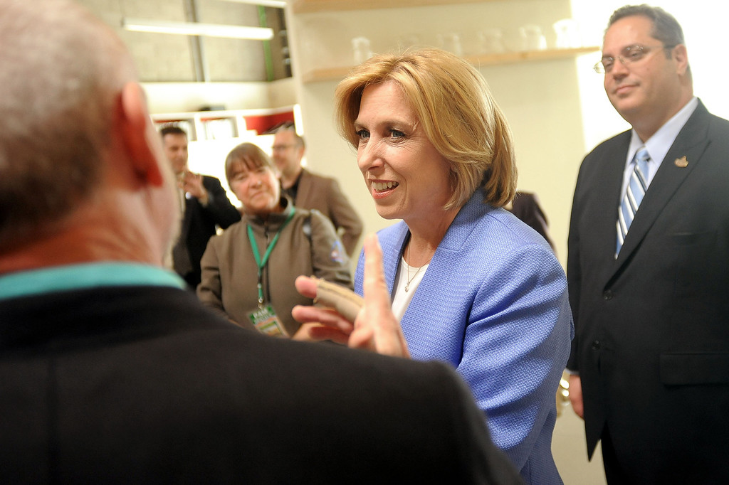 . Los Angeles mayoral candidate Wendy Greuel talks with WET Design CEO Mark Fuller while making an appearance at the facility in Sun Valley, CA March 6, 2013.  Greuel and Eric Garcetti are now campaigning for a May runoff.(Andy Holzman/Los Angeles Daily News)