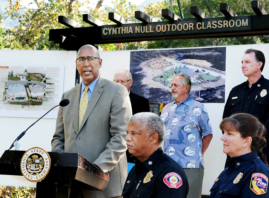 Description of . Assemblymember Chris Holden (D-Pasadena) speaking at wildfire prevention news conference   at Eaton Canyon Nature Center in Pasadena Friday, June 20, 2014. LA County Superivsor Michael Antonovich, Pasadena Fire Chief Calvin Wells, JPL/NASA Climatologist Bill Patzert, LA Deputy Fire Chief John Todd, and Cal Fire Mary Stock Division Chief, Fenner Canyon Conservation at news conference. This summer fire season starts Saturday and may be even more fiery than usual, climatologists say. After years of drought, a warmer-than-average fall, winter and spring with 40 percent less rain this year, the Southland could be in for an especially scorching fire season. (Photo by Walt Mancini/Pasadena Star-News)