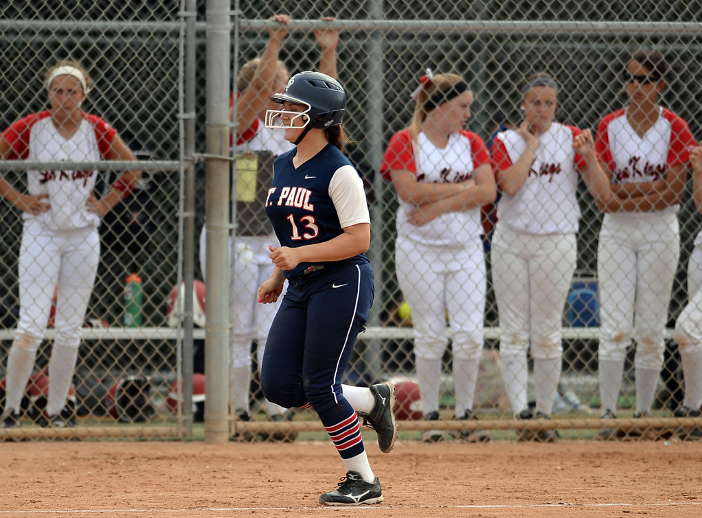 . St. Paul\'s Krystal Gutierrez (13) rounds third after smacking her second home run (the first was a grand slam) on Palos Verdes in a CIF-SS Division III semifinal softball game Tuesday, May 27, 2014, Palos Verdes Estates, CA.   Gutierrez would add another home run later in the game. Palos Verdes lost 10-0. Photo by Steve McCrank/Daily Breeze