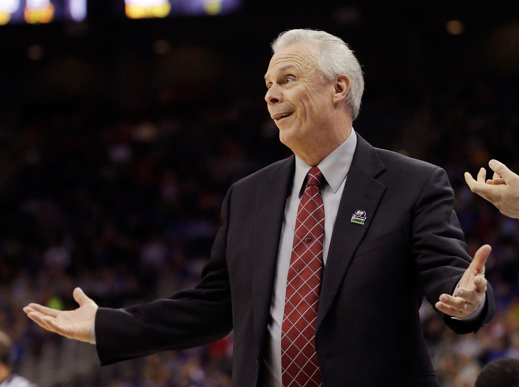 . Wisconsin head coach Bo Ryan wonders about a call during the first half of a second-round game against Mississippi in the NCAA college basketball tournament at the Sprint Center in Kansas City, Mo., Friday, March 22, 2013. (AP Photo/Orlin Wagner)