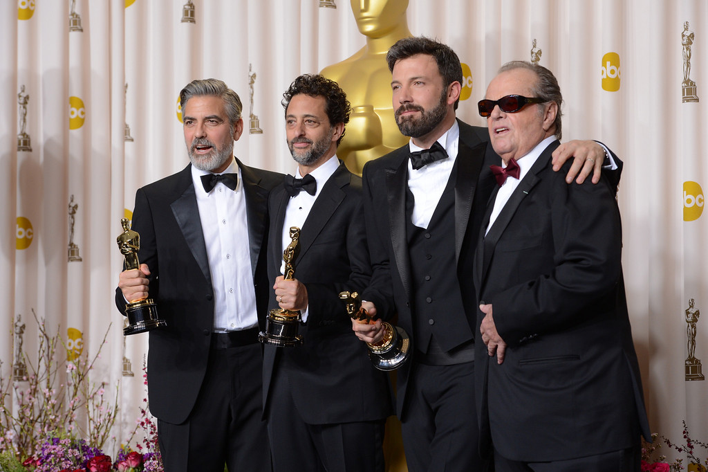 Description of . George Clooney, Grant Heslov, and Ben Affleck, accepts the award for best picture for