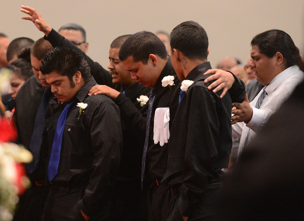 . Funeral for Chris Cotinola Jr  in Chino March 21, 2013. Chris Cotinola Jr., the 20-year-old Pomona man who was shot and killed outside his Gordon St apartment March 10. His was the third fatal shooting in the city since March 7. A total of four young men have lost their lives to gun violence.  (Thomas R. Cordova/Staff Photographer)
