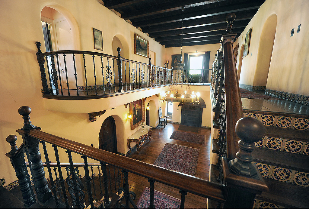 ". A tour of La Casa Nueva, or ""the new house.\"" Built between 1922 and 1927, this 12,400-square-foot Spanish Colonial Revival mansion is noted for its fine architectural crafts, including stained glass, ceramic tile, wrought iron, and carved wood. La Casa Nueva, or \""the new house.\"" The Homestead Museum will honor seven of its volunteers, all local La Puente and Hacienda Heights residents, at its annual Volunteer Appreciation Dinner on Sat., April 6. The volunteers have given more than 4,700 hours of their time to the museum giving tours of the historic homes and properties as well as during the museum\'s festivals, workshops, youth programs and more. The volunteers to be honored are well trained docents with several years of experience. Carol Hamilton (1,000 hrs) and Eldon Dunn (6,000 hrs) of Hacienda Heights. (SGVN/Photo by Walt Mancini/Highlanders)"